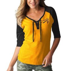 Women's Pittsburgh Pirates Touch by Alyssa Milano Yellow/Black Perfect Game 3/4-Sleeve T-Shirt