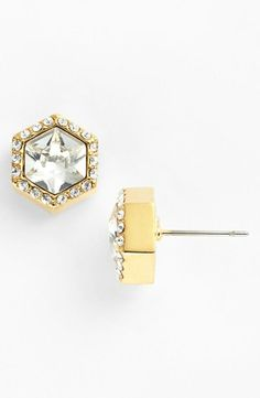 Stunning! Vince Camuto hexagonal crystal studs.