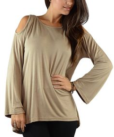 Another great find on #zulily! Taupe Cutout Bell-Sleeve Top #zulilyfinds