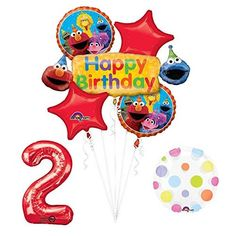 Elmo and Friends Sesame Street 2nd Birthday Supplies Decorations Balloon kit