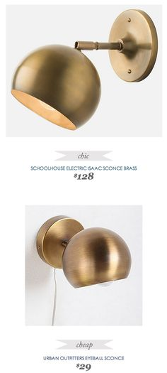 SchoolhouseElectric Issac #Brass Sconce $128 - vs - UrbanOutfitters Eyeball Sconce $29