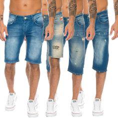 1199b945daae Herren Jeans Shorts Bermuda Hose Denim Sommer Short Blau H-117 W29-W36 NEU