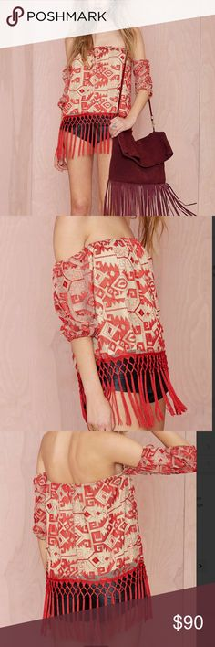 #4950 🦁🖤 other world embroidered top Get ready to look like you just got back from the ultimate tropical vacation. The Other World Top is made in a nude mesh and features all-over red embroidery, stretch band at off-the-shoulder neckline, and fringe at hem-- perfect for showing off those moves. Partially lined, side zip closure. We love it teamed up with strappy nude heels and a wide open dance floor. By Line and Dot. Polyester/Nylon Runs true to size. Dry clean. Imported. Color: red Nasty…