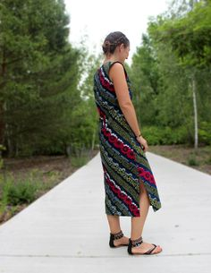 Schnittmuster für langes Kleid Diy Blog, High Low, Kimono Top, Tops, Dresses, Fashion, African Textiles, Craft Tutorials, Long Dresses