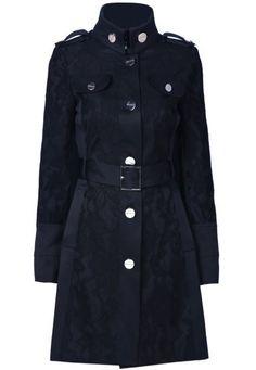 Black Long Sleeve Epaulet Belt Trench Coat pictures