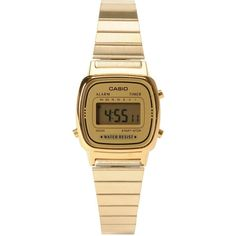 Casio LA670WGA-1DF Small Classic Vintage Gold Watch ($55) ❤ liked on Polyvore featuring jewelry, watches, accessories, vintage wristwatches, casio wrist watch, vintage gold watches, gold tone watches and vintage jewelry