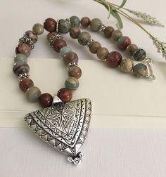 Necklace-Snake Skin Jasper Beaded by HoneysuckleJewelscom on Etsy