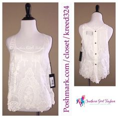 DOLCE VITA Tank Top Silk Embroidered Fionie Eyelet - Available in my #Poshmark Closet in Size Large! Don't miss out on this deal and rare item! #DolceVita #ForSale #Shopping #Sheer #Silk #Fashion #Sale #OOTD #ShopMyCloset #SouthernGirlFashion @poshmark