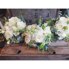 Simple & classic white & green bridesmaids bouquets