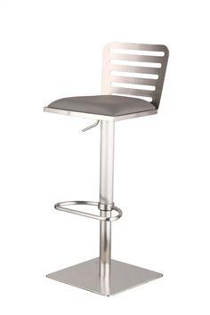 Delmar Adjustable Height Swivel Bar Stool with Cushion