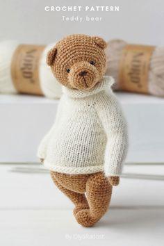 Teddy Bear Patterns Free, Crochet Bear Patterns, Crochet Bunny, Amigurumi Patterns, Crochet Dolls, Crochet Basics, Stuffed Animal Patterns, Couture, Sweater