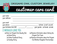 Origami Owl Customer Care Card Idea