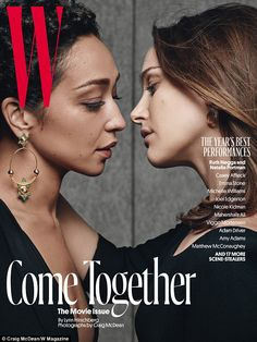 """Muah! Natalie Portman and Ruth Negga nearly kiss on the new issue of W... ""Umm would say marketing is why, but sold! And Ruth Nega for Best Actress Oscar next month!"
