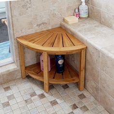 Corner Shower Bench Seat Storage Shelf Bamboo Bath Stool Spa Bathroom Home Chair #CornerShowerBench