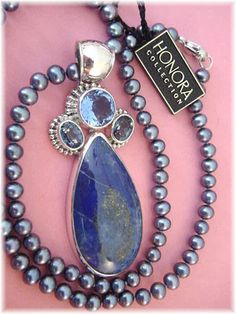 Sweet Shades of Blue ~ Artisan Sterling Lapis & Blue Quartz Pendant ~ Honora Iridescent Blue Pearl Necklace www.FindMeTreasure.com