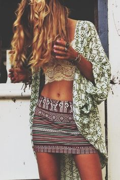 Ethnic mini skirt with sexy lace crop top for a hippie allure. For the BEST 2015 Bohemian fashion trends FOLLOW http://www.pinterest.com/happygolicky/the-best-boho-chic-fashion-bohemian-jewelry-gypsy-/ now