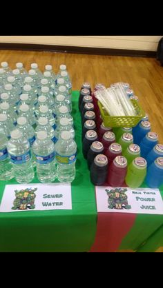 Ninja Turtle Birthday Party decorations, food and games. Drinks