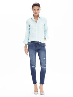 We're loving new styles of denim, including these medium wash skinny ankle jeans. Their slightly distressed finish makes them go-to layering jeans for that perfect winter street style   Banana Republic