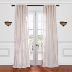EFF Vintage Textured Faux-Dupioni Silk Window Curtain ($140) ❤ liked on Polyvore featuring home, home decor, window treatments, curtains, white oth, white curtains, pole pocket curtains, vintage curtains, rod pocket curtains and vintage drapery