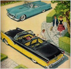 cars were so cool back then. 1955 Ford ad, image only