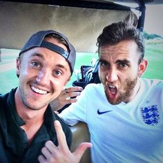"Then Draco and Neville played golf together. Because they're Muggles. And that's what normal Muggles do. | The ""Harry Potter"" Actors Doing Normal Stuff Together Is So Weird"