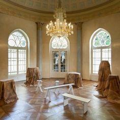 "Robert Stadler drapes furniture in patterned  ""invisibility cloaks"" for MAK museum installation"