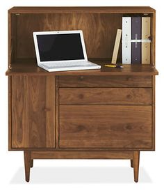 Grove Office Center - Desks - Office - Room & Board  >>>>> stain this ebony, change hardware to mini brass midcentury conical shaped knobs, and paint the inside a wild color. yes.