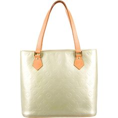 Louis Vuitton Vernis Houston Tote (63320 RSD) ❤ liked on Polyvore featuring bags, handbags, tote bags, green, green tote bag, monogram tote, louis vuitton purses, green purse and louis vuitton tote