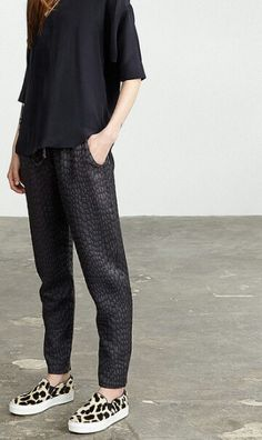 Textured Trousers + Leopard Print Slip Ons