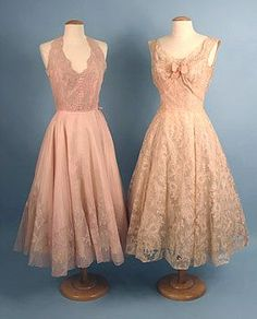 1950s blush lace dresses