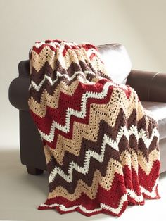 Cabin in the Woods Afghan | Yarn | Free Knitting Patterns | Crochet Patterns | Yarnspirations