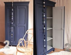 armoire bleu nuit gris clair TRENDY LITTLE, maybe even hint at a hidden TARDIS a bit?