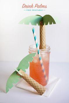Plantilla para palmeras de papel, igual para decorar una mesa // Printable Drink Palms   Oh Happy Day!