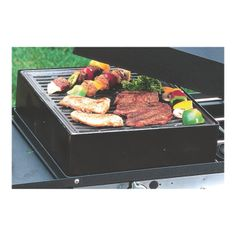 Grill box turns one burner of the Camp Chef EX60 stove (Item# 33698, sold separately) into a BBQ grill. Will accommodate roasts and whole chickens. Has seasoned cast iron cooking surface.