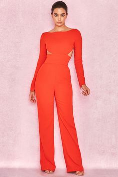 cc98f693113 HOUSE OF CB  Crisanta  Dark Orange Backless Jumpsuit S 8   10 SS 13753