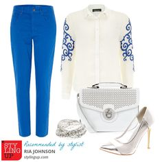 Out of styling ideas for work?    Here's a recommendation from our stylist Ria, based on a blue embroidered blouse from Dorothy Perkins