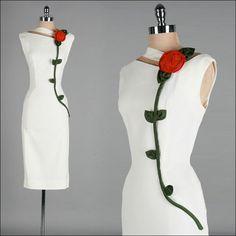 Vintage 1950s Dress . White Ivory Linen . Rose . Wiggle . M . 2065. $345.00, via Etsy.