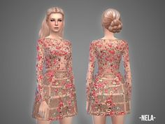 The Sims Resource: Nela dress by April Sims Packs, Sims 4 Gameplay, Cc Fashion, Sims 4 Teen, Sims 4 Dresses, Sims 4 Mm, Sims 4 Cc Finds, Sims 4 Clothing, Sims Mods
