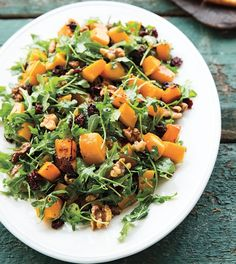 Squash, Dried Cherry, Walnut and Arugula Salad   You can use any type of winter squash or even sweet potatoes in this comforting salad. You can also try hazelnuts or pecans instead of walnuts, or swap the dried cherries for pomegranate seeds.