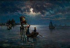 Devota ofrenda en la laguna de Venecia by Antonio Muñoz Degrain