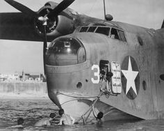 A US twin-engine Martin Mariner flying boat at an air base on the Banana River in Florida. Planes of this type were used as bombers and anti-submarine and rescue aircraft. March 1943.