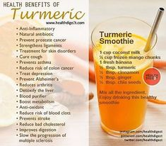 The health benefits of turmeric powder are versatile and potent. Ancient peoples used turmeric to treat a wide variety of health issues ranging to flatulence, for pain and for treating ringworm. & fitness and wellness salud health smoothies holistic Smoothie Curcuma, Turmeric Smoothie, Juice Smoothie, Healthy Juices, Healthy Smoothies, Healthy Drinks, Smoothie Recipes, Cleanse Recipes, Detox Drinks