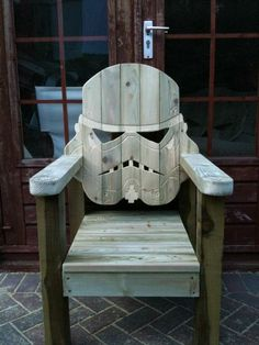 Stormtrooper deck chair will defend your house ~ I'd like two for my front porch, unless they have a Darth Vader one too, then I need three