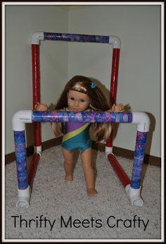 You know what I love about this?  Remember when we used to create things for our dolls to play with? My Barbie sailed the world in a shoebox boat. My dolls had clothes my Grandma made. Use your imaginations!