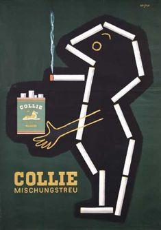 vintage cig ad // Collie – Raymond Savignac (1952)