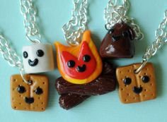 Smores and Campfire Friendship Necklaces for by PumpkinPyeBoutique, $67.00