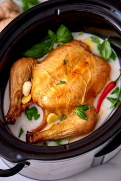 If you have enjoyed the wonder that is chicken cooked in milk, wait until you try chicken cooked in coconut milk! This recipe shows you how to recreate Jaime Oliver's chicken in milk with coconut milk and in the slow cooker. This tweaked recipe calls for a whole chicken, kosher salt, coconut milk, low-sodium chicken broth, garlic, fresh basil leaves, fresh Thai red chile and freshly squeezed lime juice.