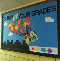 'Up' themed Academic Bulletin Board
