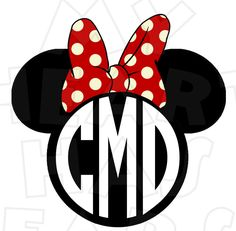 Monogram Minnie Mouse ears heads PERSONALIZED initials digital clip art image :: My Heart Has Ears. How to make an iron on transfer: http://myhearthasears.com/faq/