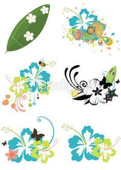 Six design elements with Hawaiian flowers on summer theme Royalty Free Stock Vector Art Illustration Hawaiian Flower Drawing, Hawaiian Flower Tattoos, Hawaiian Flowers, Lilo And Stitch Tattoo, Lilo Y Stitch, Hibiscus, Tatoo Manga, Wave Stencil, Hawaiian Crafts